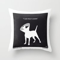 snatch Throw Pillows featuring No079 My Snatch minimal movie poster by Chungkong