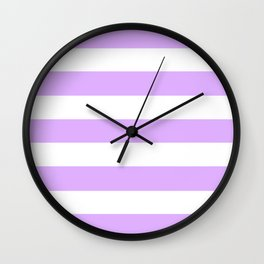 Mauve - solid color - white stripes pattern Wall Clock