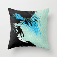 surfing Throw Pillows featuring Surfing by CSNSArt