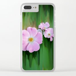 Pink Wild Roses Clear iPhone Case