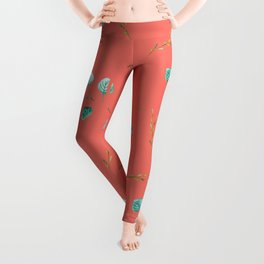 Blue teal turquoise watercolor leaves pattern on living coral Leggings