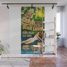Creature from the Black Lagoon, vintage horror movie poster Wall Mural