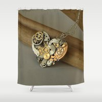 jewish Shower Curtains featuring Steampunk Heart of Gold and Silver by Brown Eyed Lady