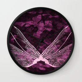 pink dragonfly wing camo Wall Clock
