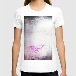 sketch of a girl with funky hair and horn-rimmed glasses reading adventure novel T-shirt