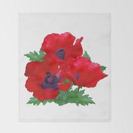 Red oriental poppies Throw Blanket