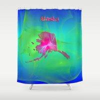 alaska Shower Curtains featuring Alaska Map by Roger Wedegis