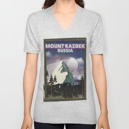 Mount Kazbek Russia. Unisex V-Neck