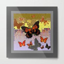 Abstracted Black & Orange Monarch Butterflies Grey Art Metal Print
