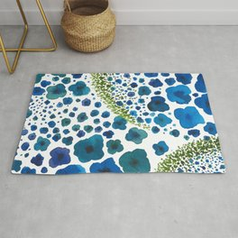 Paths of Color [Turquoise, Blue and Green] Rug