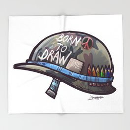 Born To Draw Throw Blanket
