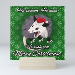 Christmas Opossum Mini Art Print