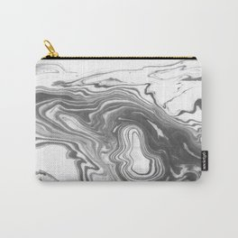 Katsuro - spilled ink marble paper map topography painting black and white minimal ocean swirl  Carry-All Pouch