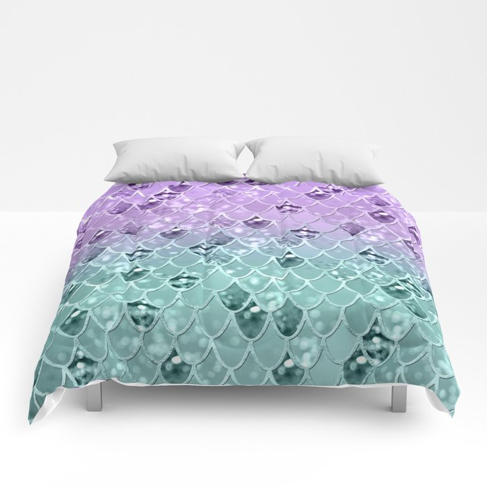Mermaid Princess Glitter Scales #3 #shiny #pastel #decor #art #society6 Comforters