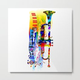 Abstract colorful music instrument painting.Trumpet, piano, musical notes, color splash, treble clef Metal Print