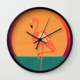 Flamingo Sunset Wall Clock