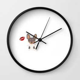I Kissed A Toy Fox Terrier And I Liked It Cute Dog Kiss Gift Idea Wall Clock