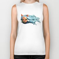 princess mononoke Biker Tanks featuring Princess Mononoke by Lara Frizzell
