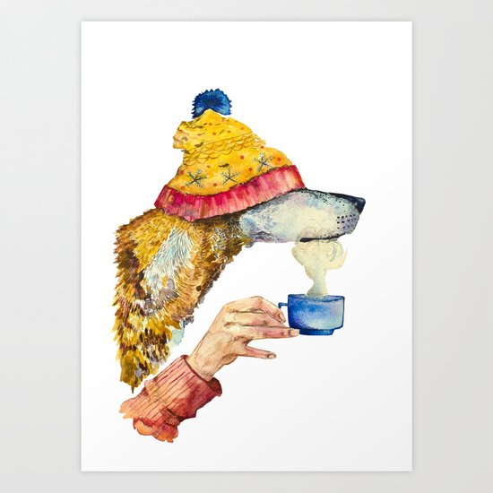 Watercolor dog  Art Print
