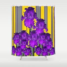 Decorative Contemporary Purple Yellow Iris Grey Garden Art Shower Curtain