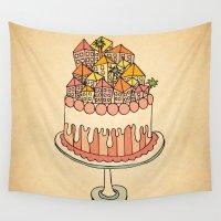 cake Wall Tapestries featuring Cake Town by Duru Eksioglu