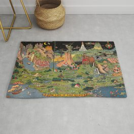 The land of make believe. Published by Jaro Hess 1930 Cornucopia of Fairy Tales Detailed Labeled Map Fun Magical Fantasy Art Rug