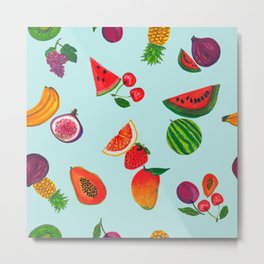 Hand drawn fruity summer time pattern aqua background Metal Print