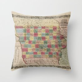 Colton's township map of the State of Iowa (1851) Throw Pillow