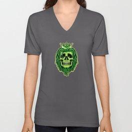 Green Dreadlocks Skull with Crown Rasta skull Unisex V-Neck