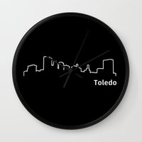 ohio Wall Clocks featuring Toledo, Ohio by Fabian Bross
