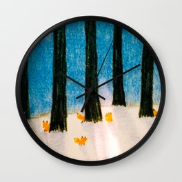 Foxs in the Forest Wall Clock