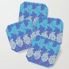 floral paisley in batik blues Coaster