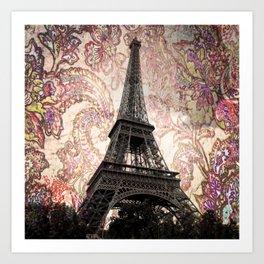 Floral Eiffel Tower in Paris, France Art Print