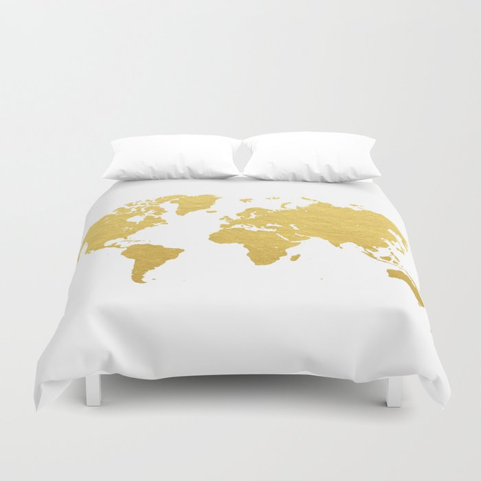 Gold world map duvet cover by bysamantha society6 gold world map duvet cover gumiabroncs Choice Image