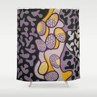 matisse Shower Curtains featuring Yellow gossip by Sandyshow
