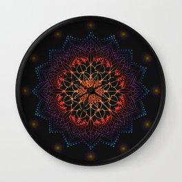 'Glowing Shamballa' Bohemian Mandala Black Blue Purple Orange Yellow Wall Clock