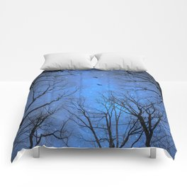 A Certain Darkness Is Needed (Night Trees Silhouette) Comforters