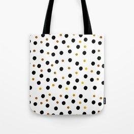 Black & Gold Glitter Confetti on white background- Elegant pattern Tote Bag