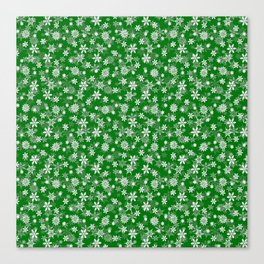 Festive Green and White Christmas Holiday Snowflakes Canvas Print
