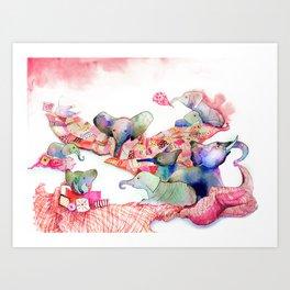 Elephants, Pillows & Blankets Art Print
