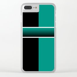 Team Colors 6...Teal, black Clear iPhone Case