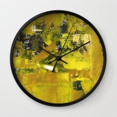Waiter Yellow Abstract Modern Art Painting Wall Clock
