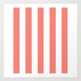 Congo pink - solid color - white vertical lines pattern Art Print