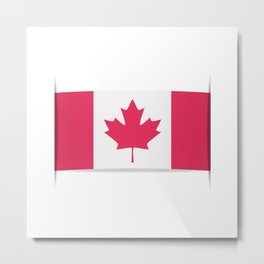 Flag of Canada. The slit in the paper with shadows. Metal Print