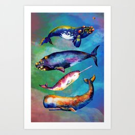 Whale Pyramid #3 - Watercolor Whales Art Print