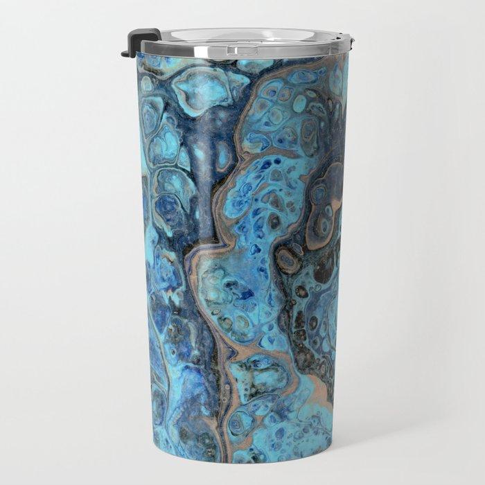Lapis Lazuli 1 - Acrylic Flow Abstract Travel Mug