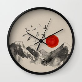 Japanese Mountains Serenity Landscape Wall Clock