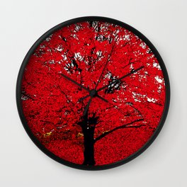 TREE RED Wall Clock