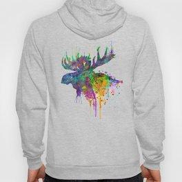 Moose Head Watercolor Silhouette Hoody
