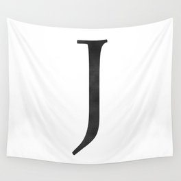 Letter J Initial Monogram Black and White Wall Tapestry